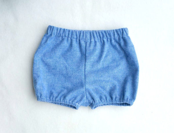 Blue Herringbone Shorties