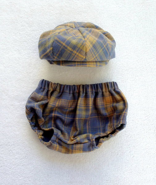 Newsboy Hat and Diaper Cover in Blue Plaid