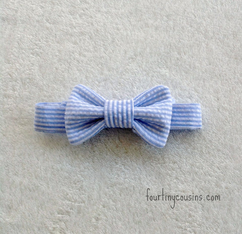 Blue and White Seersucker Bow Tie