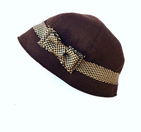 Brown and Houndstooth Cloche