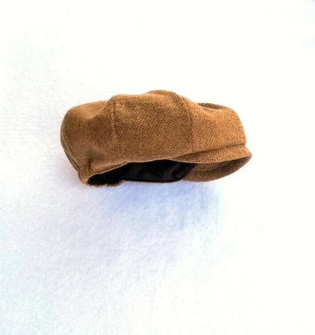 Brown Cotton Tweed Newsboy Hat