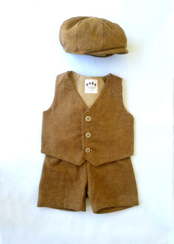 Hat, Vest and Shorts or Pants in Brown Cotton Tweed