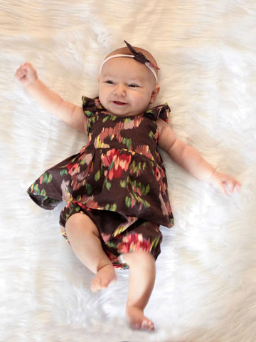 Abstract Floral Peplum, Headband, and Shorties Set