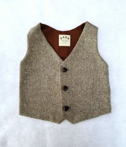 Brown Tan Taupe with Gold Wool Tweed Vest