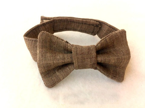 Brown Linen Bow Tie