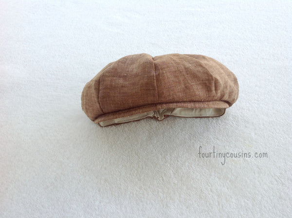 Brown Linen Newsboy Cap