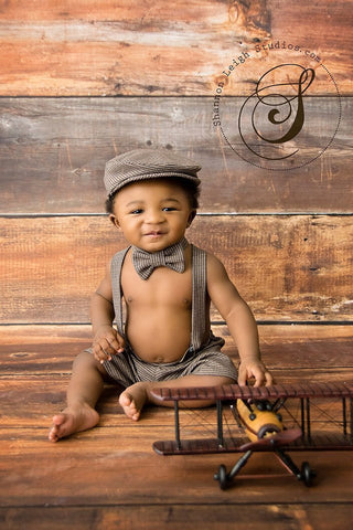 Henry Newsboy Set in Brown and Navy Houndstooth
