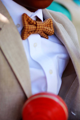 Brown Houndstooth Bow Tie