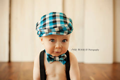 Flat Cap in Blue Buffalo Plaid