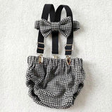 Oliver Set in Black and White Houndstooth