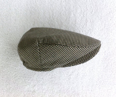Black and Cream Houndstooth Flat Cap