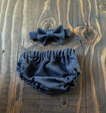 Ready to Ship Charcoal Suiting Diaper Cover and Bow Tie
