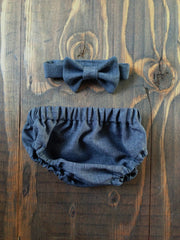 Charcoal Suiting Diaper Cover and Bow Tie