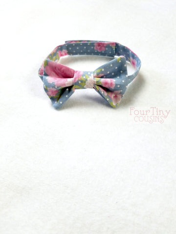 Blue Polka Dot and Pink Floral Bow Tie