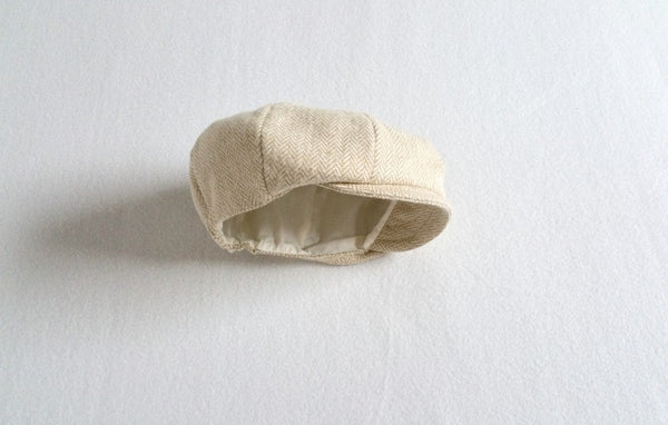 Cream Herringbone Cap