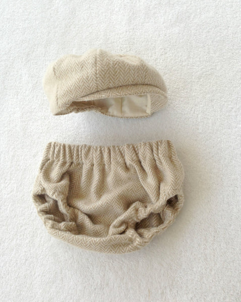 Hat and Diaper Cover in Cream