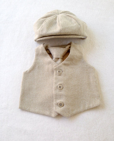 Cream Herringbone Vest, Hat, and Tie