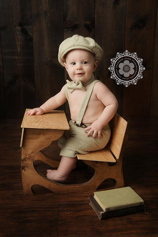 Henry Newsboy Set in Cream Herringbone