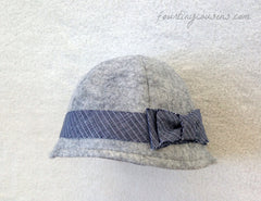 Abigail Cloche in Heather Gray with Blue Linen details