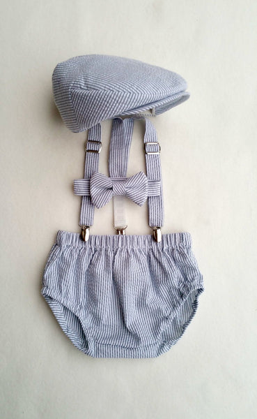 Gray Seersucker Newsboy Set