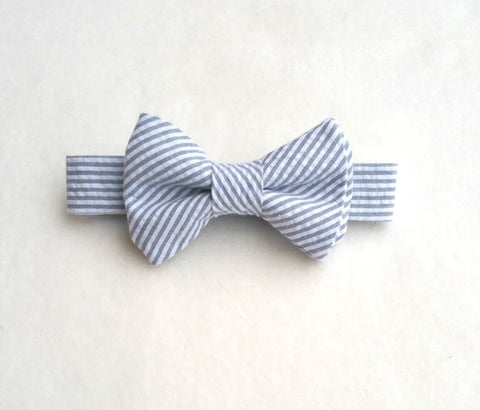 Ready to Ship Gray Seersucker Bow Tie