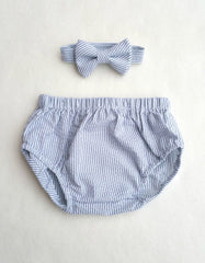 Gray Seersucker Diaper Cover and Bow Tie