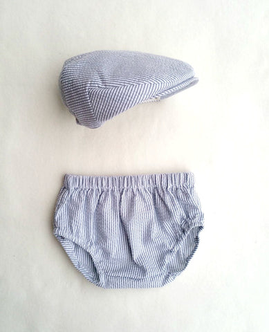Ready to Ship Gray Seersucker Flat Cap and Diaper Cover