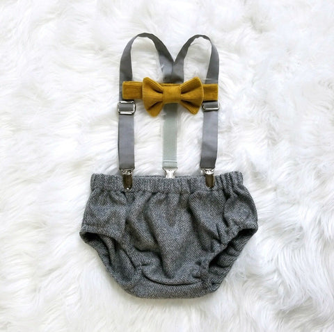 Gray Tweed, Mustard, and Slate Oliver Set