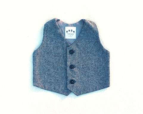 Grey Cotton Tweed Vest - Size 6-12 months