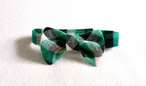 Green Buffalo Plaid Bow Tie