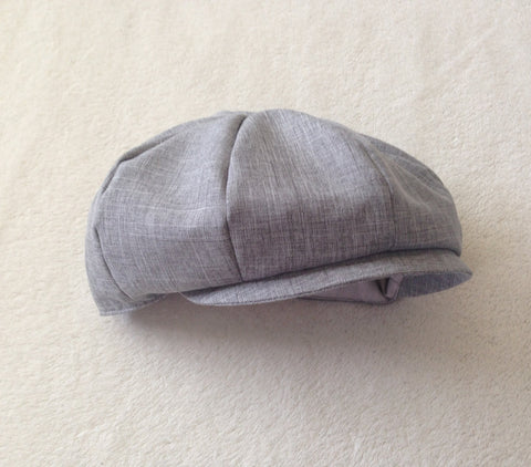 Ready to Ship Newsboy Hat in Heather Gray Suiting