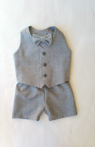 Ready to Ship Vest, Bow Tie, and Shorts or Pants Set in Heather Gray Suiting