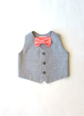 Heather Vest with Choice of Bow Tie Color