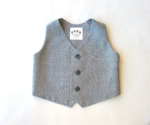 Ready to Ship Vest in Heather Gray with Gray Horn Buttons
