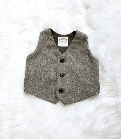 Brown Gold Wool Tweed Vest - Size 6-12 months