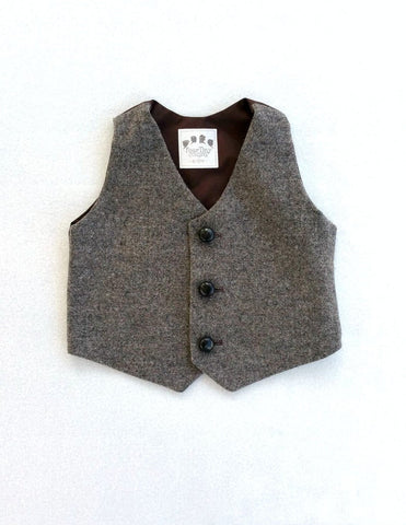 Brown Gold Tweed Vest with Horn Buttons - Ready to Ship