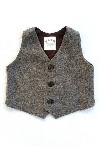Taupe Tweed Vest with Horn Buttons - Ready to Ship