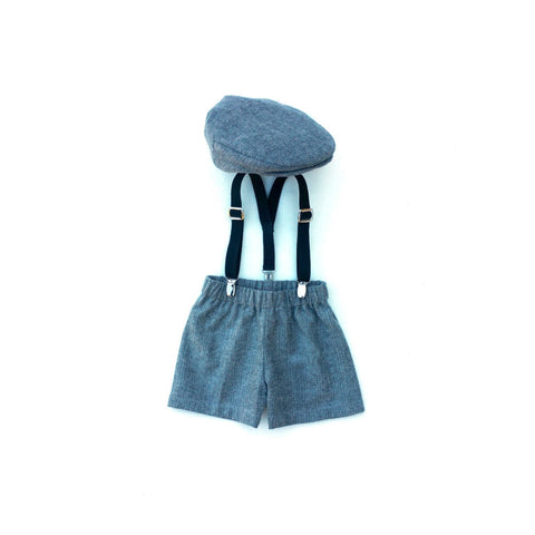 Gray & Black Flat Cap 3 Piece Newsboy Set