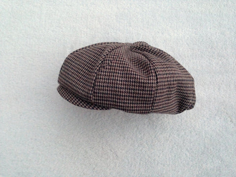 Brown, Navy, and Tan Houndstooth Newsboy Hat