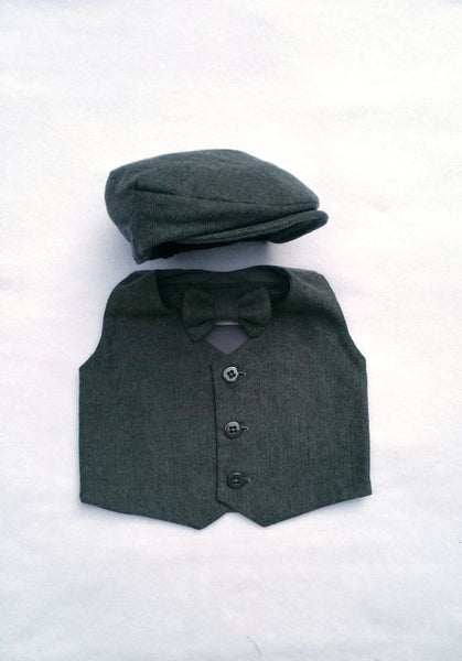 Charcoal Herringbone Cap, Vest, and Tie