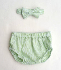 Lime Seersucker Diaper Cover and Bow Tie