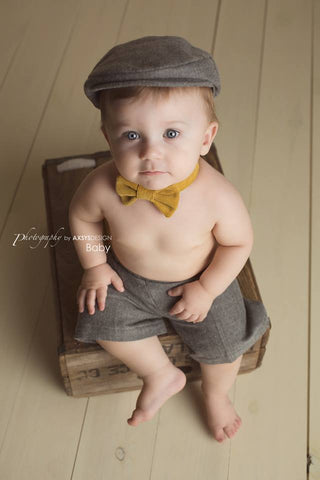 Ready to Ship Charlie Newsboy Set in Gray and Mustard