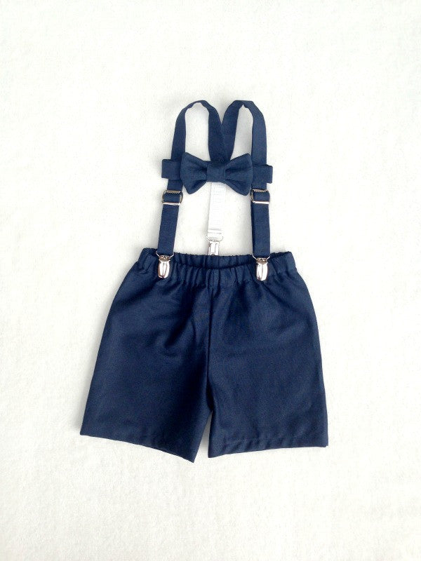 Bow Tie Suspenders And Shorts Or Pants Set In Navy