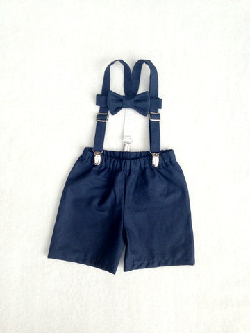 Bow Tie, Suspenders, and Shorts or Pants Set in Navy Natural Linen Cotton Blend