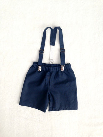 Ready to Ship Suspenders and Shorts in Navy Natural Linen/Cotton