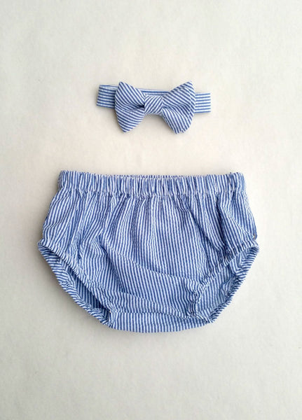 Navy Blue Seersucker Diaper Cover and Bow Tie