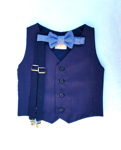 Navy and Blue Vest Set
