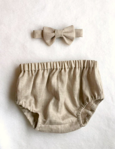Oatmeal Linen Diaper Cover Bow Tie Set