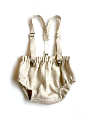 Oatmeal Linen Suspender Bloomers Set