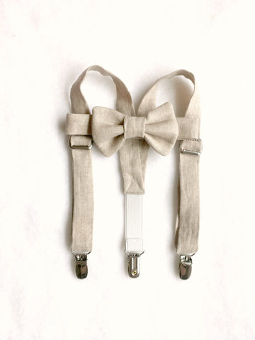 Oatmeal Linen Suspenders and Bow Tie